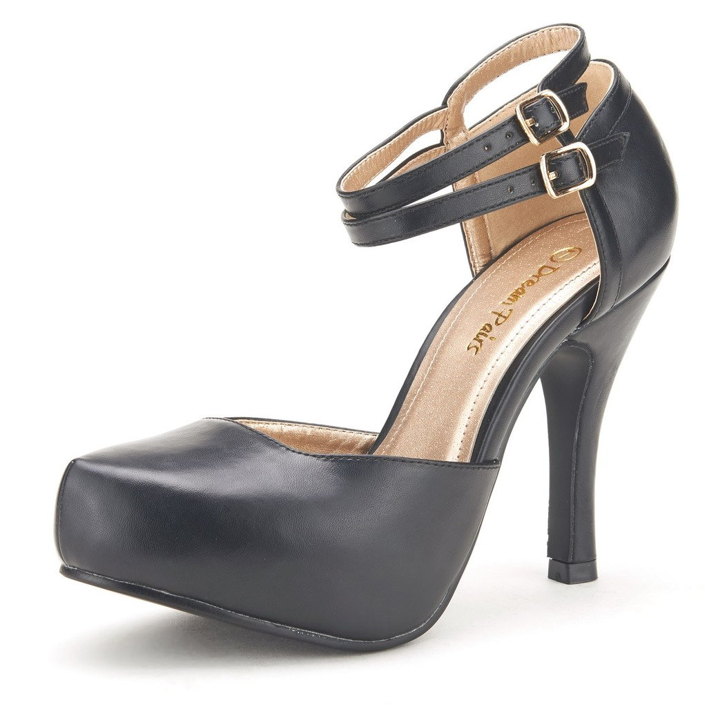 DREAM PAIRS OFFICE-02 Women's Classy Mary Jane Double Ankle Strap Almond Toe High Heel Pumps New Black PU Size 8
