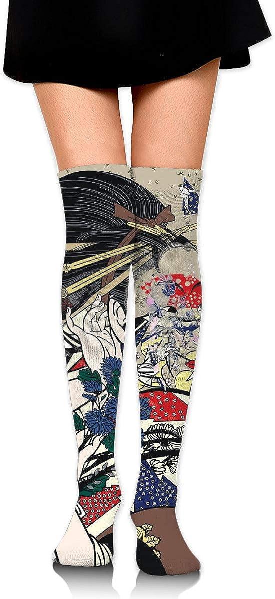 Women Crew Socks Thigh High Knee Spirit Of A Woman With White Crane Long Tube Dress Legging Sport Compression Stocking