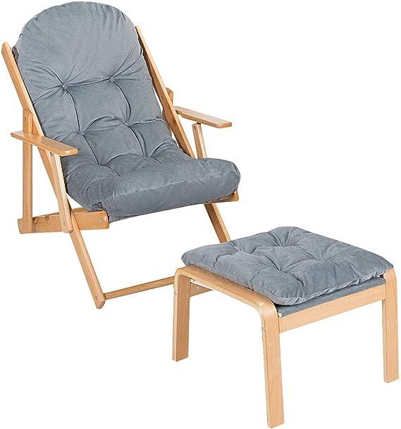 Gris LXDDP Extra Ancho Silla n reclinable Tumbonas con portavasos Sillones para Salones Silla relajaci/ón Tumbona Plegable para Exterior con coj/ín y reposapi/és