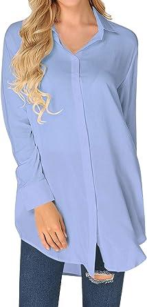 ZANZEA Blusa Mujer Manga Larga Camiseta Cuello V Camisa Patchwork Irregular De Decoracion Camisas Tapas