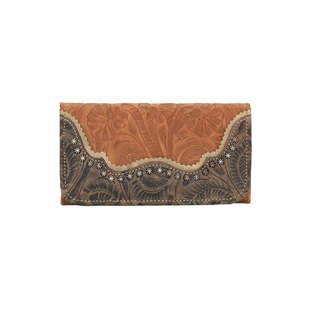 American West Women's Saddle Ridge Tri-Fold Wallet Rust Copper One Size