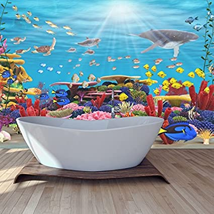 Azutura Blue Coral Reef Wall Mural Under The Sea Photo Wallpaper Bathroom Home Decor Available In