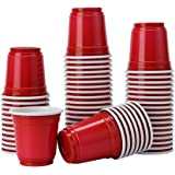 TashiLiving Mini Party Plastic Shot Glasses, Jager Bomb, Sample Cups, 2 Ounce, Red