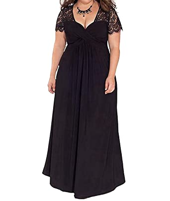 Duraplast Women\'s Plus Size Maxi Dress Lace Evening Gown Black/Red ...