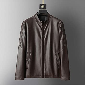 wuliLINL Mens Faux Leather Jacket Long Sleeve Premium Stand Collar Zip Up Racer Hoodie Leather Jacket