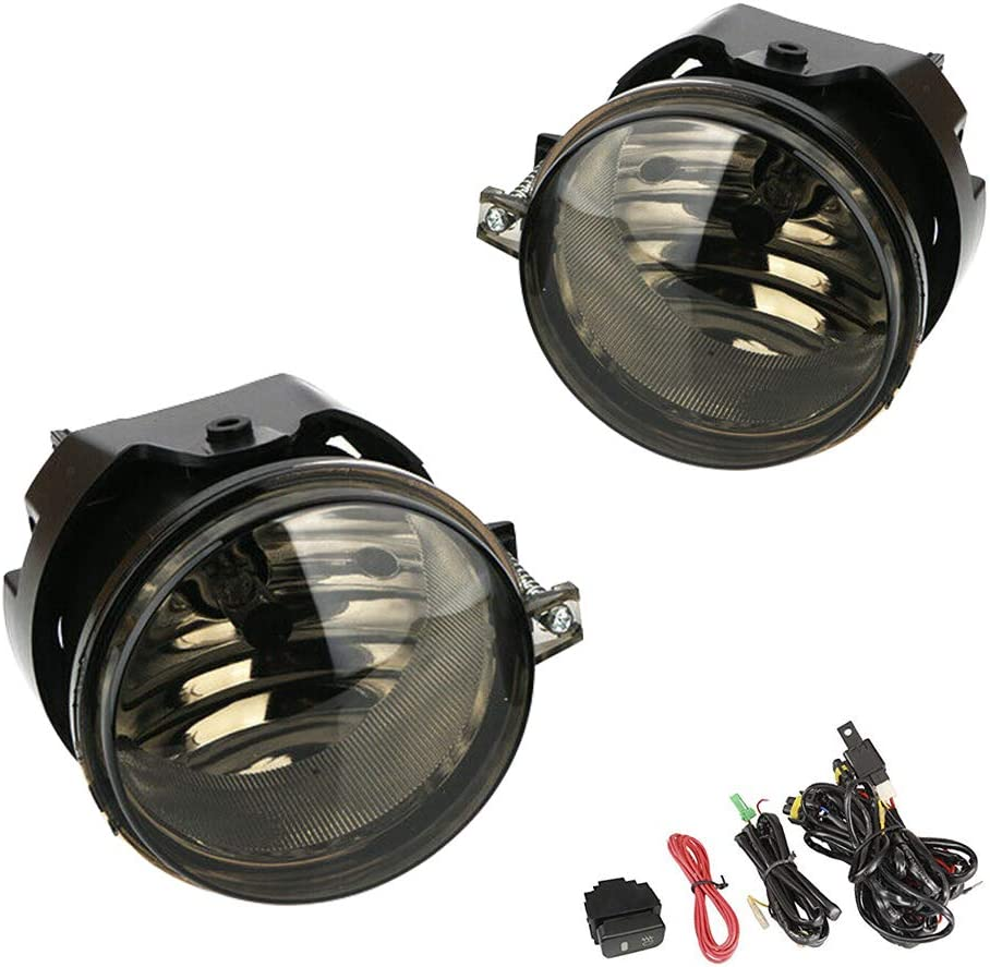 Clear Lens Driving Fog Lights Lamps Replacement for Dodge Caravan Charger Challenger Caliber Chrysler Pacifica Sebring Jeep Patriot Compass with H8 12V 35W Halogen Bulbs /& Switch and Wiring Kit