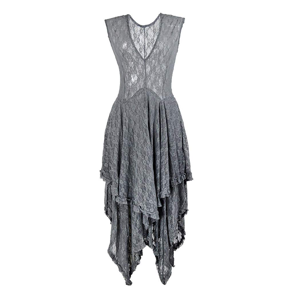 Sleeveless Backless Asymmetrical Layered Lace Long Dress