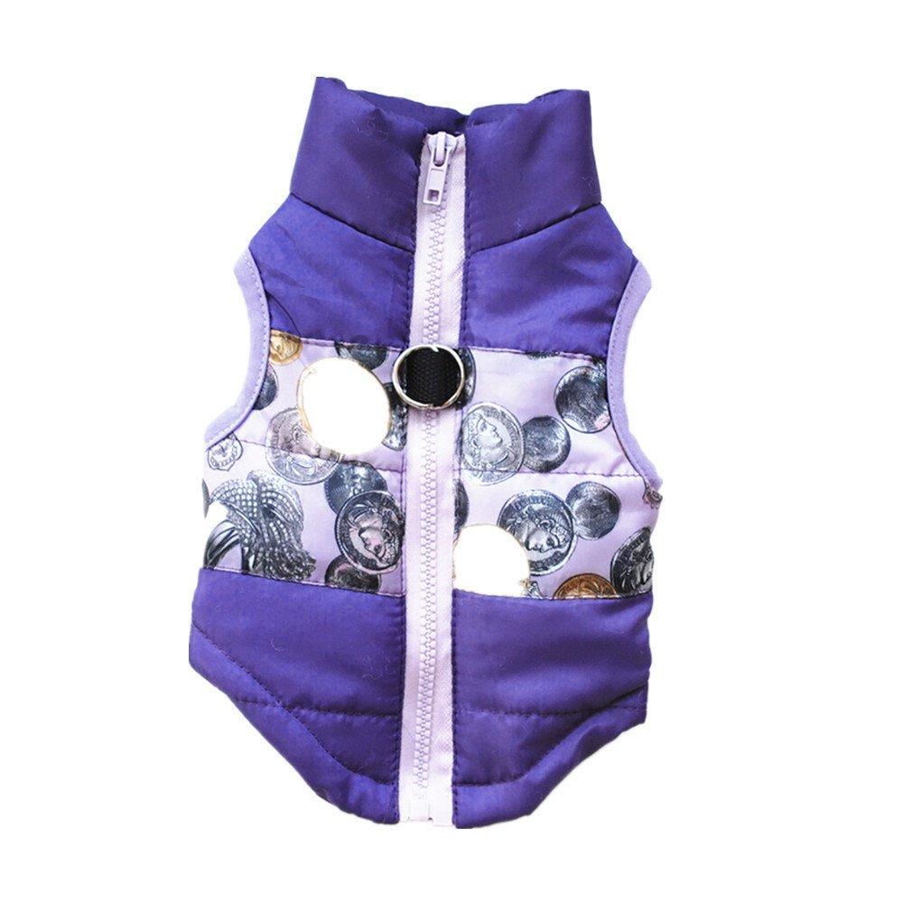 VêTements pour Chien,Chat Chien Manteau Veste Animaux Fournitures vêtements vêtements d'hiver Chiot Costume,Manteau Habits pour Chien (S, Violet) Kaiki Vetement Chien Vetement