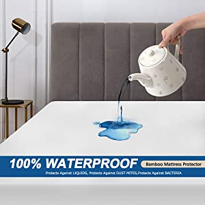 """Bonzy Home Waterproof Mattress Protector(C King),Bamboo Mattress Protector,Fitted up to 18""""Deep Pocket, Breathable, Noiseless, Dust Mite Proof Mattress Protection Cover"""
