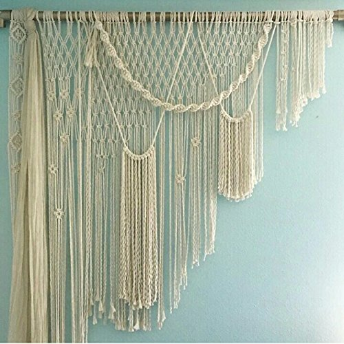 RISEON BOHO 51''W x 63''L Macrame Wedding Backdrop, Macrame Wedding Arch Arbor, Macrame Wall Hanging,Macrame Door Hanging,Room divider,macrame Curtains,Window Curtain for Decor at Ceremonies