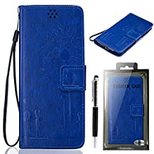 "Sony Xperia M4 Aqua Case, SsHhUu Luxury Stylish [Dandelion Embossing] Magnetic Stand Card Slot PU Leather Flip Protective Wallet Slim Cover Case + Stylus Pen for Sony Xperia M4 Aqua (5.0"") Blue"