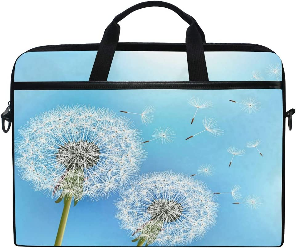 QMXO 14-14.5 inch Laptop Case,Flowers Dandelions Blue Sky Laptop Computer Sleeve Bag Protective Shoulder Bag Carrying Case Briefcase for Office Women Men
