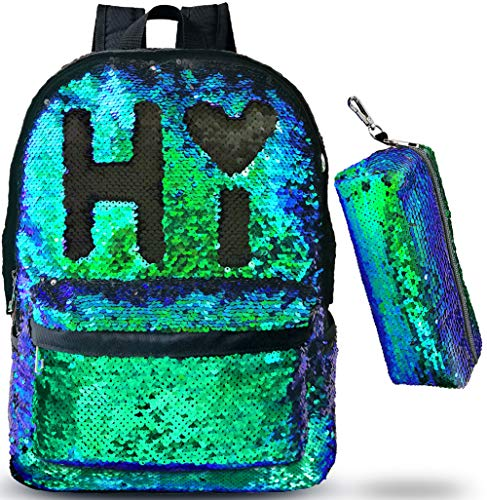 Magic Reversible Sequin-School Backpack for Girls Boys Kids Teens Fashion Glitter Mermaid Flip Sparkly Book Bag Gift Lightweight with Pencil Case (Teal/Black)