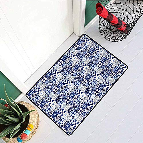 Gloria Johnson Antique Front Door mat Carpet Vintage Patchwork Inspired Mosaic Tile Pattern Traditional Classic Design Machine Washable Door mat W29.5 x L39.4 Inch Blue Navy Blue - Eagle Goods Mosaic Dry