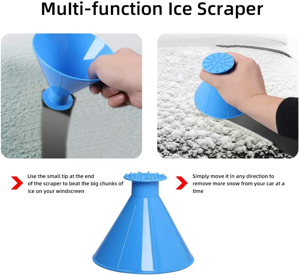 Cone-Shaped Magic Funnel Car Windshield Snow Removal Tool INFUN 4Pack Magical Car Ice Scraper 2 in 1 Multifunctional A Round Ice Scraper
