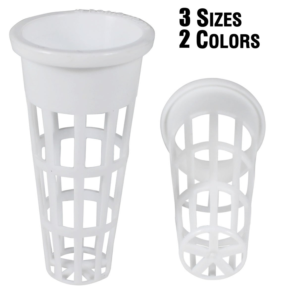 NP1DW: 7/8 Inch White Slotted Mesh Net Pot for Hydroponics/Aquaponics/Orchids - 2700 Carton
