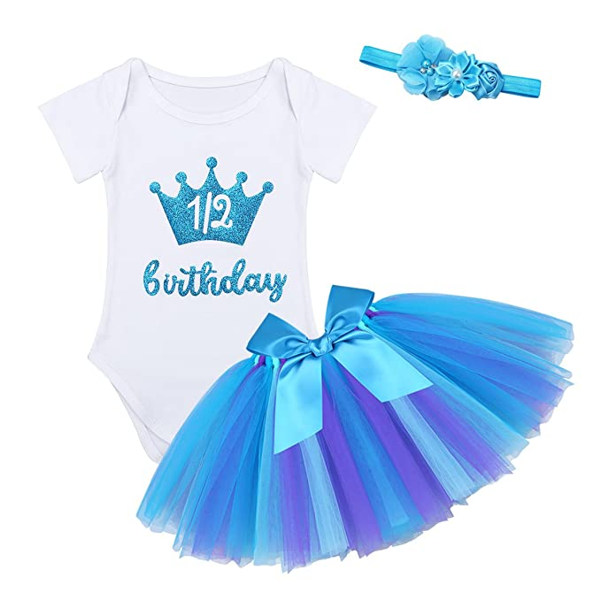 Baby Half Birthday Bodysuit Tutu Dress Outfit /& 1//2 Crown Headband