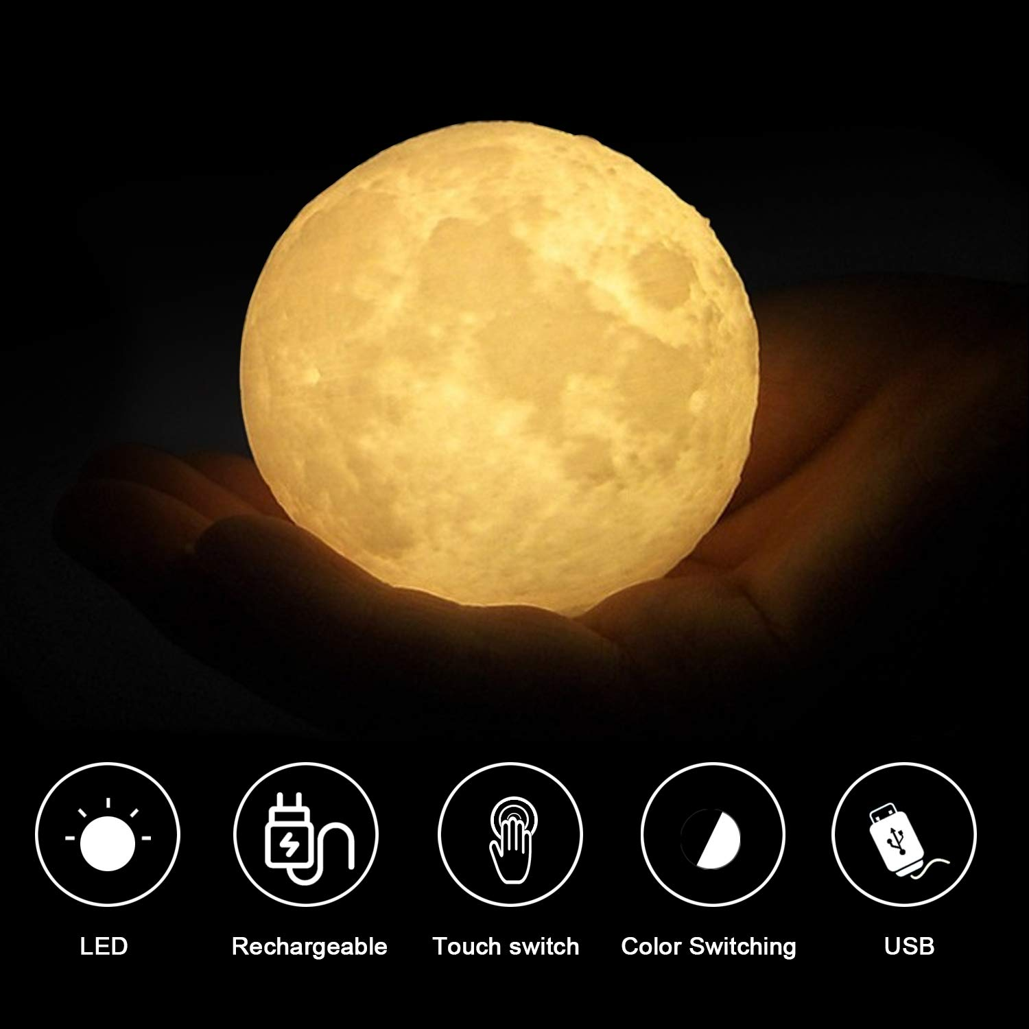 Amurgo Night Light,LED 3D Printing Moon Lamp,Baby Night Light Touch Control Warm and Cool Brightness with USB Charging for Hallway, Bathroom, Bedroom, Kitchen,Living Room