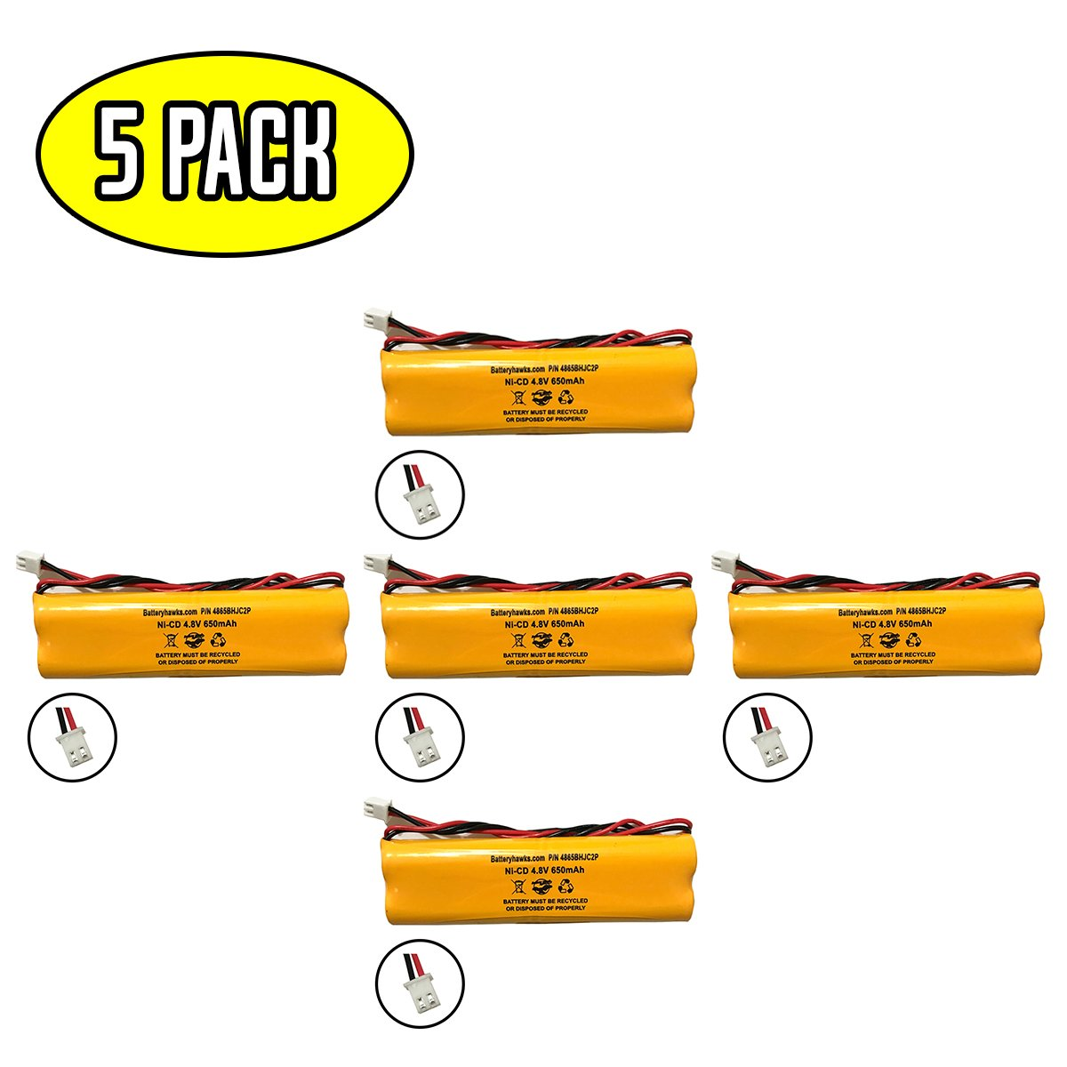 (5 Pack) Unitech Dual-Lite 0120859 Ni-CD AA 650mAh All Fit E1021R LITHONIA D-AA650Bx4 4.8V EJW-NI-CAD 800mah BYD D-AA650B-4 Exit Sign Emergency Light NiCad Battery Pack Replacement by Batteryhawk, LLC