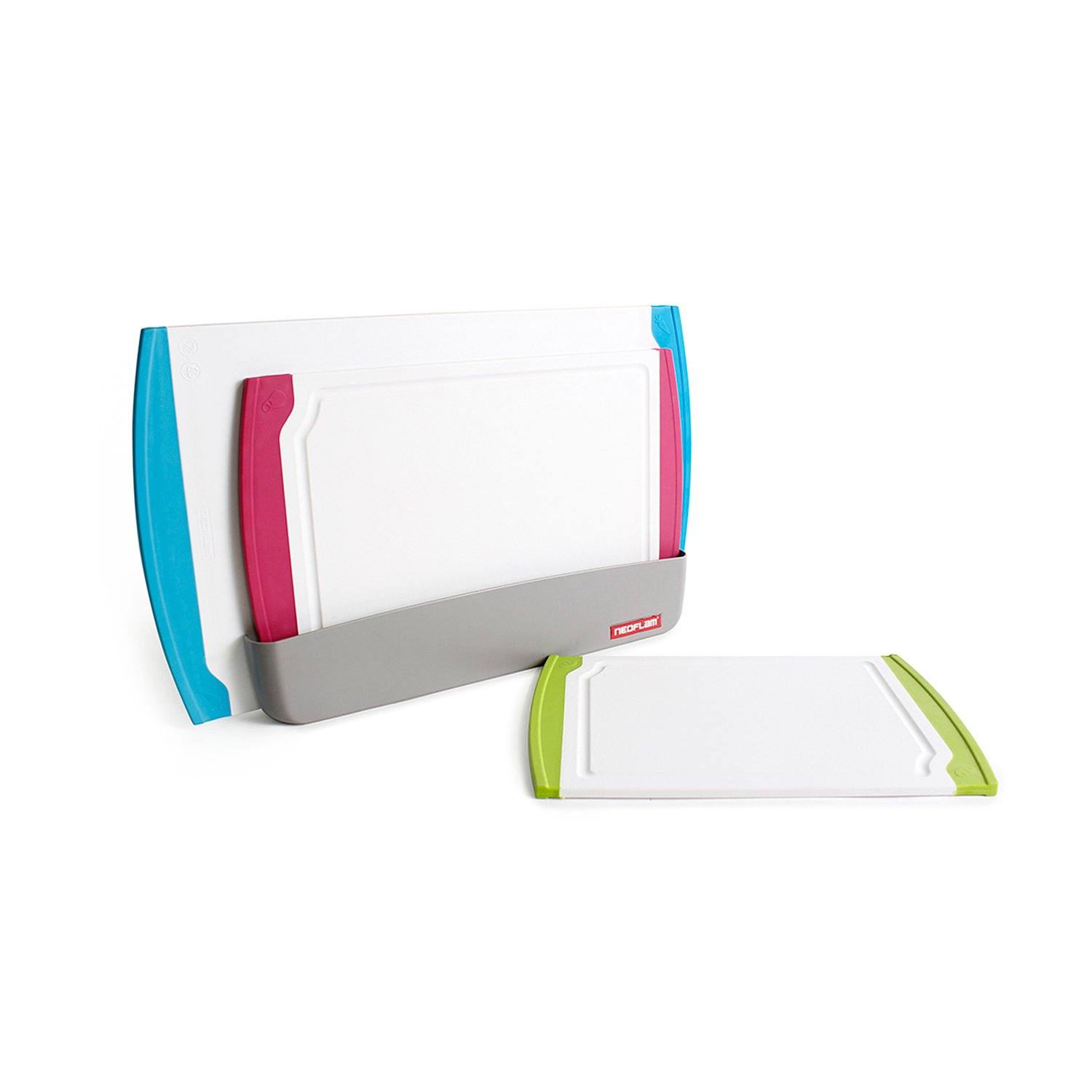 Neoflam 3 Piece Plastic Cutting Board Set plus Organizer in White and Multi - BPA Free, Non Slip, Dishwasher Safe, Microban Antimicrobial Protection