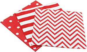 "Red Paper Napkins, Decorative and Biodegradable Napkins for Party Events 60count, folded 6.5"" x 6.5"", unfolded 13"" x 13"""