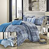 Brynwood 6-Piece Luxury Reversible Comforter Set Queen Size, Printed; Comes With Shams and Decorative Pillows
