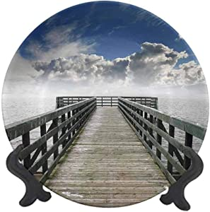 "Seascape 6"" Ceramic Decorative Plate,Seaside Banister Clouds Beige Foggy Morning and Ocean Seascape View Image Dinner Plate Decor Accessory for Dining Table Tabletop Home Decor Blue Gray White"