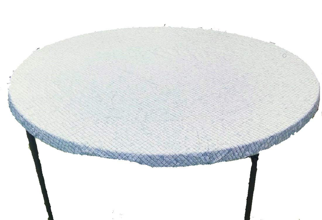 Fitted Round Elastic Edge Mosaic Vinyl Tablecloth Table Cover fits 36'' to 48'' BLUE