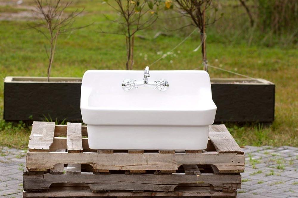 Amazon Com White Vintage Style High Back Farm Sink Original Porcelain Finish Apron Kitchen Utility Sink Handmade