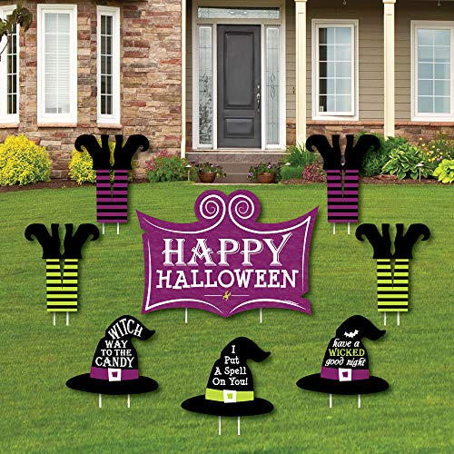 Happy Halloween - Yard Sign & Outdoor Lawn Decorations - Witch Party Yard Signs - Set of 8 -