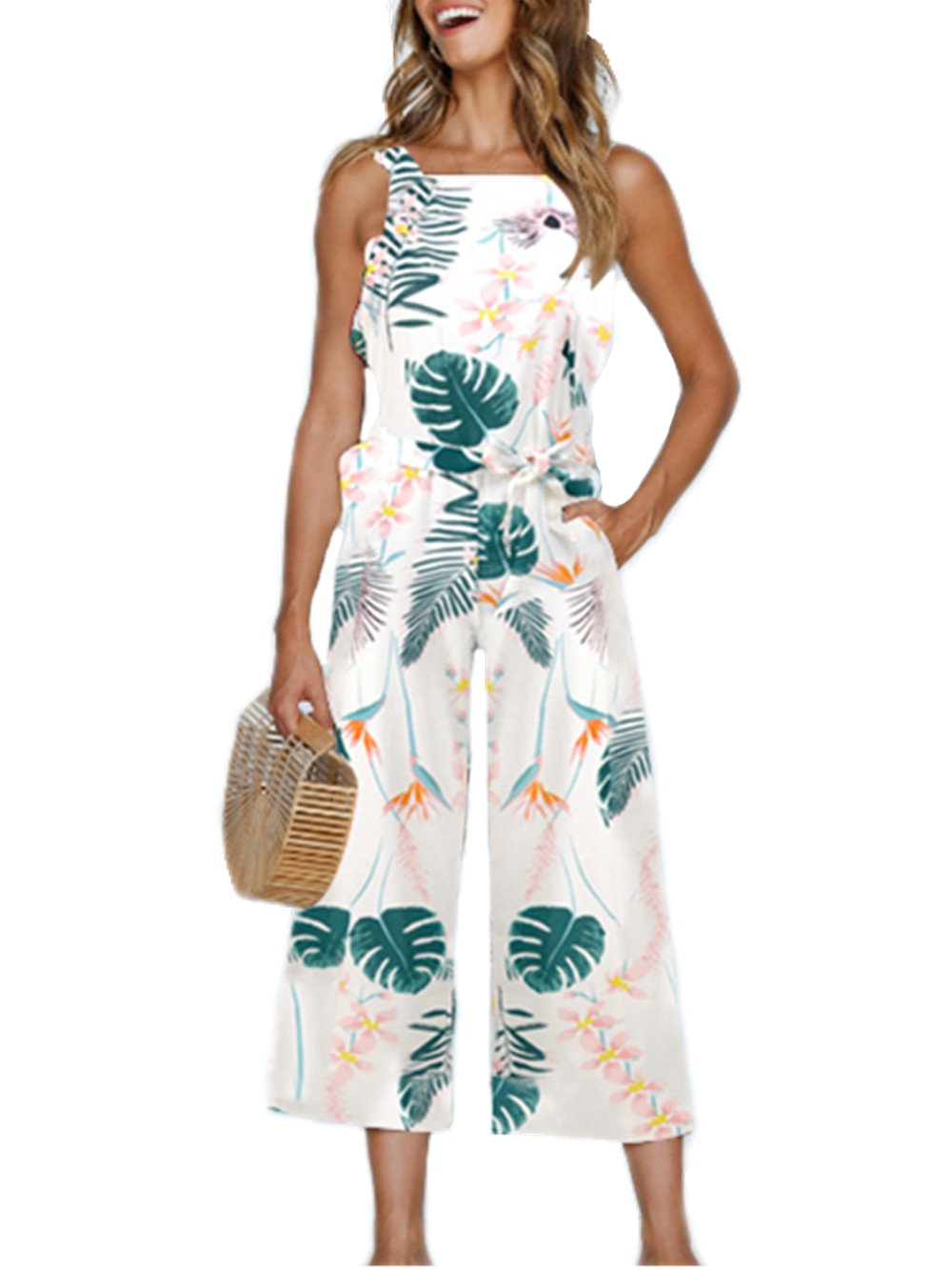 Dongpai Women's Floral Print Strap Jumpsuit Sleeveless Tie Waist Wide Leg Pant Rompers with Pockets