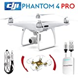 DJI Phantom 4 Pro Drone Professional Quadcopter Bundle Kit Comes with iPhone Cable, Battery Bank, Remote Lanyard and Mini Drone