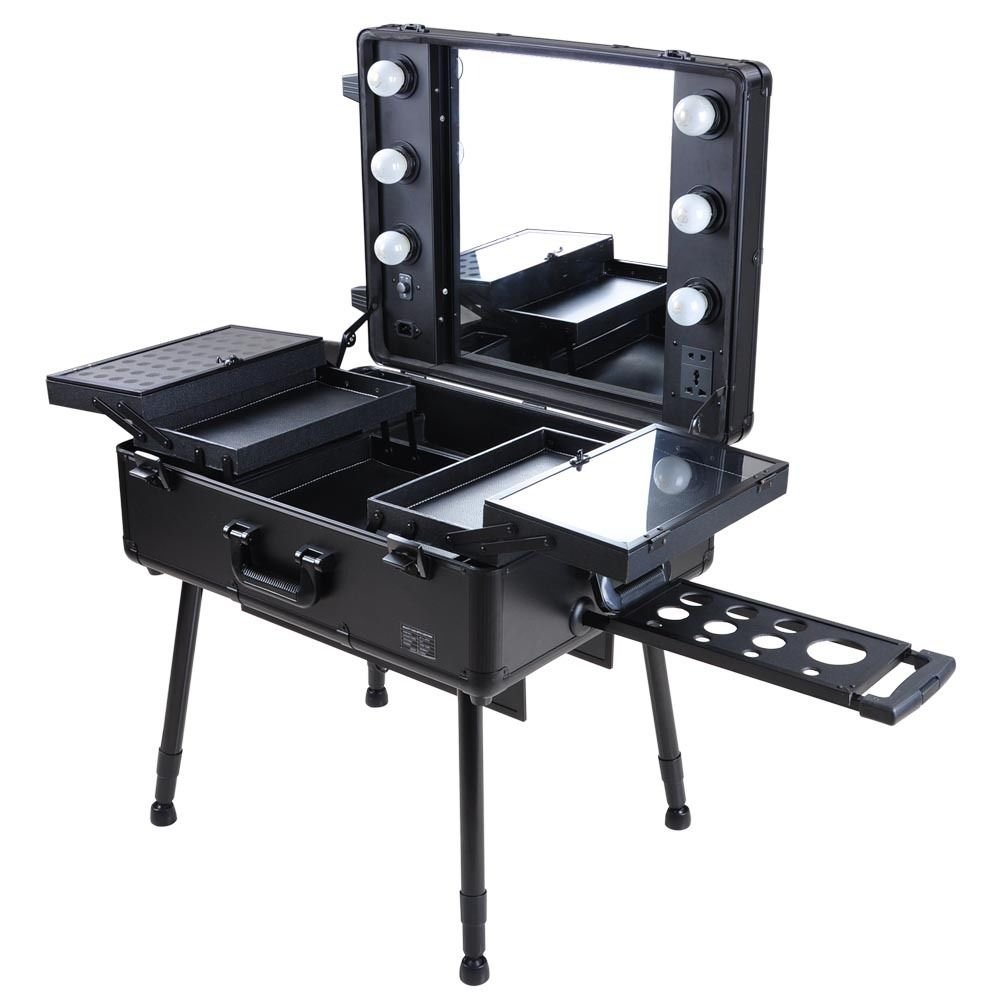 Superb Amazon.com : Rolling Studio Makeup Artist Cosmetic Case W/ 6x 40W Light  Bulb Adjustable Leg Mirror Cosmetic Black Train Table : Beauty