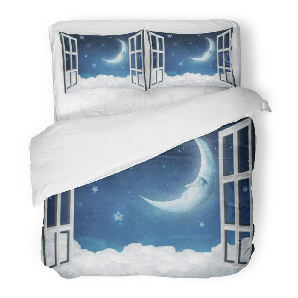 Emvency 3 Piece Duvet Cover Set Brushed Microfiber Fabric Blue Cartoon of Night View from Window Red Moon Bedtime Black Characters Clear Breathable Bedding Set with 2 Pillow Covers Twin Size
