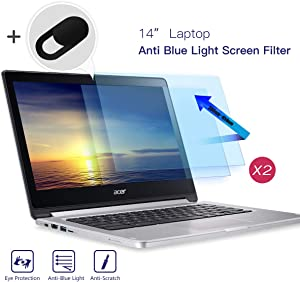 "2-Pack 14"" Screen Filter Anti Blue Light Anti Glare Screen Protector for Lenovo Flex 14/Acer Chromebook 14 / HP Chromebook 14 /Dell Latitude 14 /HP Stream 14 /Acer Spin 3 14 with Webcam Cover"