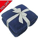 Somewhere Plush Fleece Blanket, Bedspread, Plush Cotton Throw,Soft Cotton Cozy Blanket,Solid Fleece Blanket,Flag Day Gifts-Queen, Blue