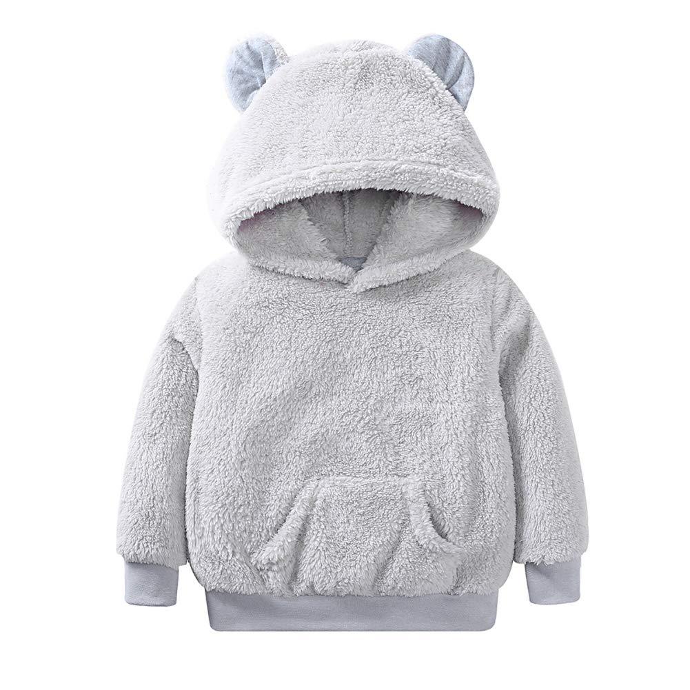Bébé garçon Fille Sweat à Capuche Polaire Manteau Chaud Ours Outwear pour l'âge 1-6 Ans