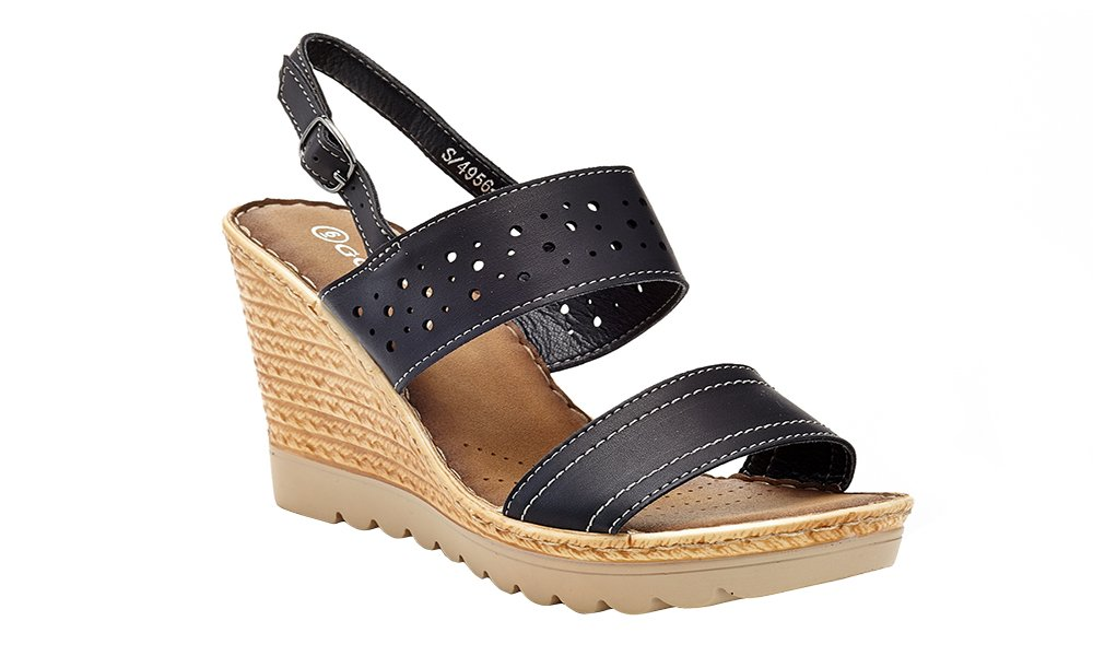 Lady Godiva Women's Open Toe Wedge Sandals Multiple Styles B079YX67CV 9 B(M) US|Black- 4956