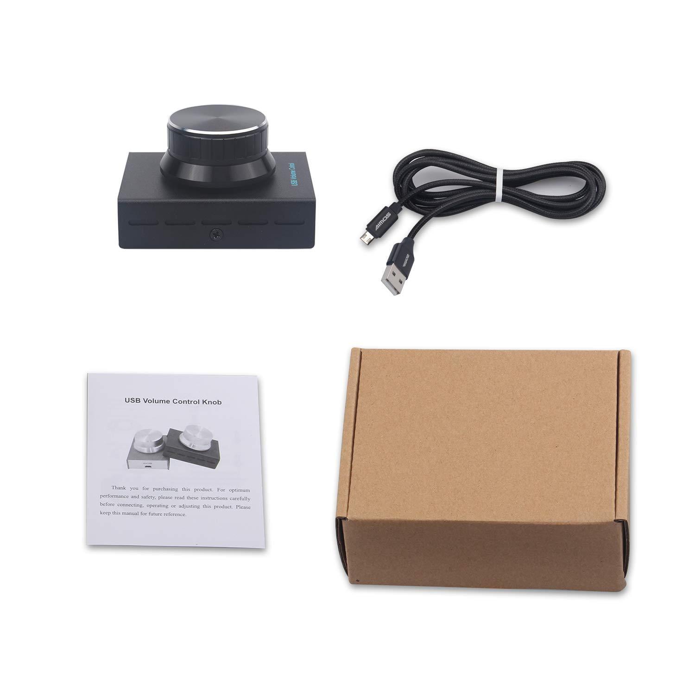 Noir Ajusteur de Volume Audio pour Haut-Parleur dordinateur Soutenir Win7 Bouton de contr/ôleur de Volume USB XP//Mac//Vista Android 8//10