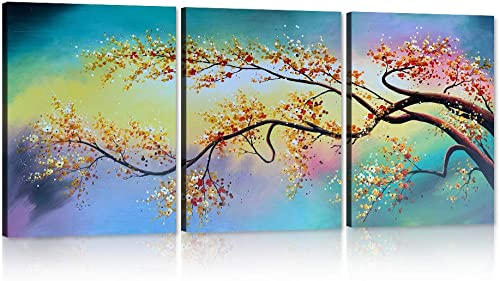 Yatsen Bridge Modern Painted Flower Oil Painting on Canvas Yellow Plum Blossom 3 Piece Gallery-Wrapped Framed Wall Art Ready to Hang for Living Room for Wall Decor Home Decoration 12 W x 16 H x 3