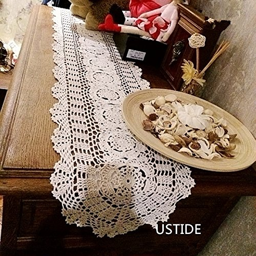 Oval Coffee Table Runner: Ustide Rustic Floral Table Runners Oval Handmade Crochet