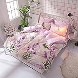 KFZ Bed SET Bedding Set Duvet Cover Set Bed Flat Sheet Pillow Covers No Comforter Twin Full Queen King Sheets Set ZL Bear Bingo Apple Lavender Design 4pcs (Lavender Flower, Pink, Queen 78''x91'')