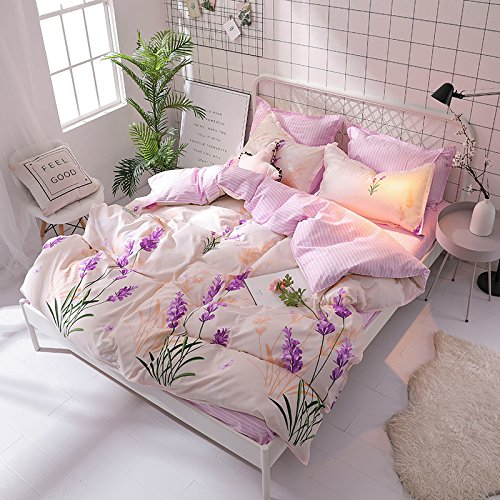 KFZ Bed SET Bedding Set Duvet Cover Set Bed Flat Sheet Pillow Covers No Comforter Twin Full Queen King Sheets Set ZL Bear Bingo Apple Lavender Design 4pcs (Lavender Flower, Pink, Queen 78''x91'') by KFZ