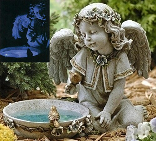14'' Joseph's Studio Solar Powered Bird Bath Angel Outdoor Garden Statue by Roman