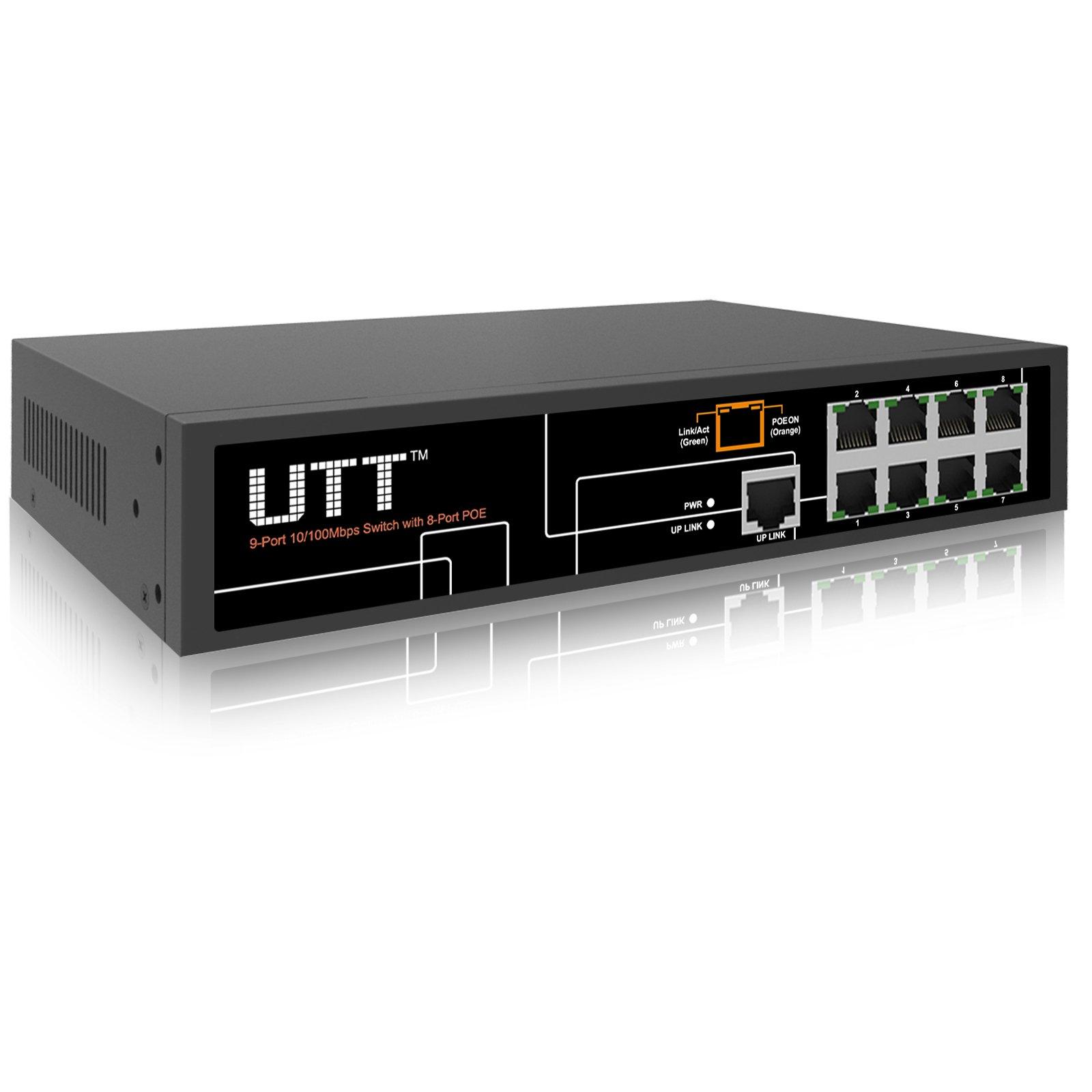 UTT S1081P Internet Unmanaged PoE Switch with (8 PoE Ports | 1 Ethernet Uplink Port) – 120W– 802.3af – for IP Camera & AP by UTT