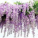 12pezzi Set 105cm Fiori di Glicine finta seta artificiale simulazione fiori Vine ghirlanda di fiori Hanging Vine String per giardino di casa decorazione per feste e matrimoni Purple
