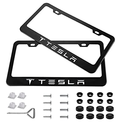 Wonderchef 2 Pieces Stainless Steel for Tesla License Plate Frame with Screw Caps Cover Set, Matte Black: Automotive