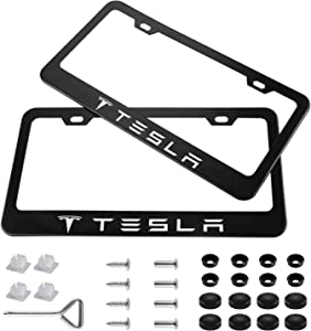 Wonderchef 2 Pieces Stainless Steel for Tesla License Plate Frame with Screw Caps Cover Set, Matte Black
