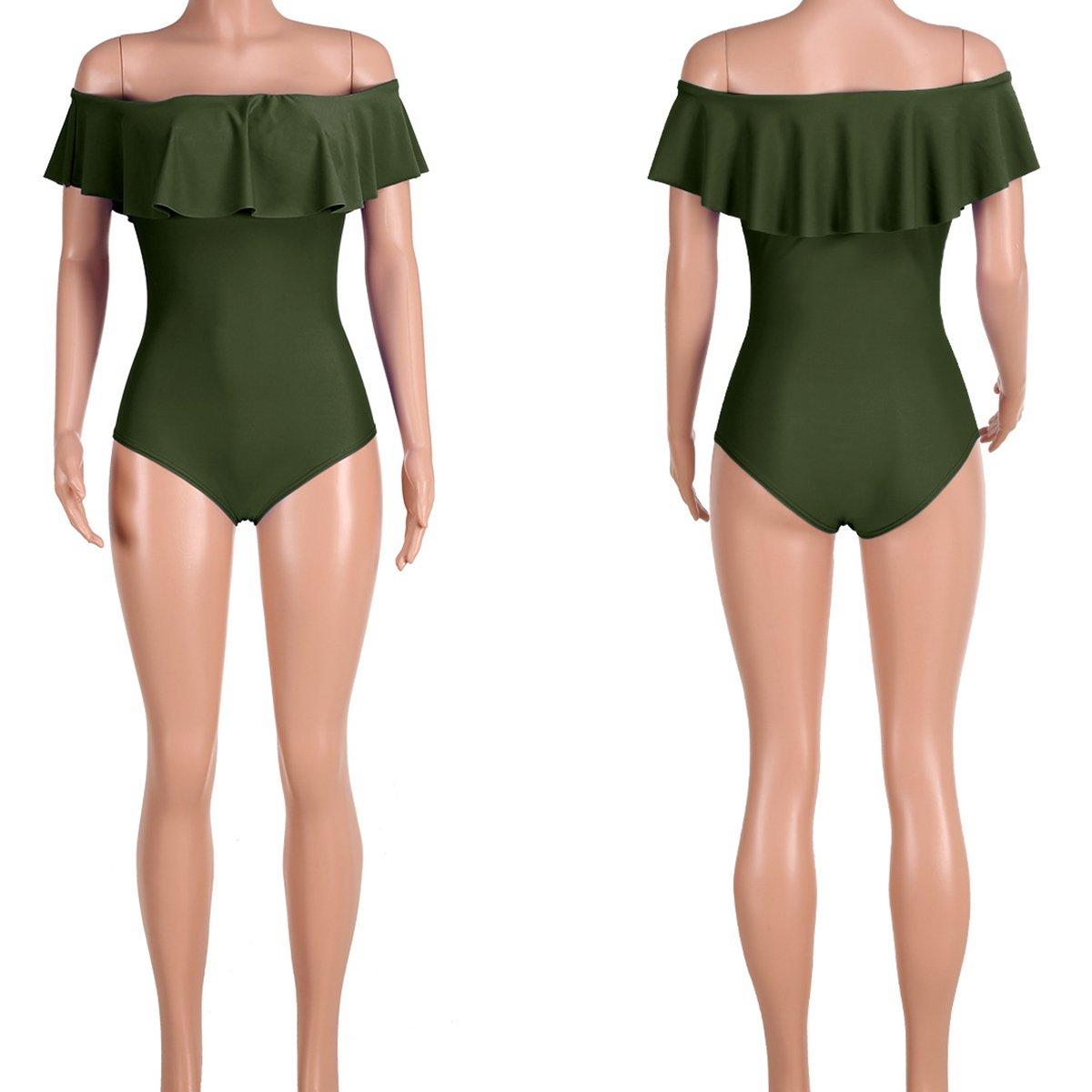 ec8025857617 Subtle Flavor Women's Sexy Off Shoulder Ruffle One-Piece Swimsuit Monokini  Bikini Bathing Suit at Amazon Women's Clothing store: