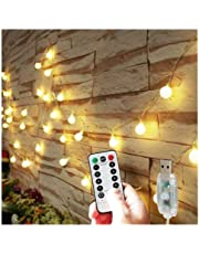 Globe String Lights with Remote Timer USB Powered, Patio Bedroom Decor Lights, 8 Working Modes, Waterproof, 16.4FT/5M String LED Lights for Indoor, Outdoor, Garden, Tapestry (Dimmable, Warm White)